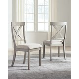 Kraus Upholstered Solid Wood Cross Back Side Chair in Gray (Set of 2) by August Grove