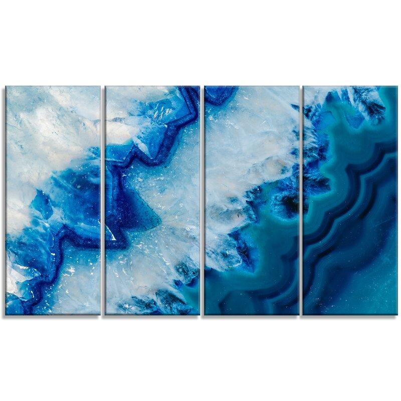 Designart Geode Slice Macro 4 Piece Wrapped Canvas Graphic Art Print Set On Canvas Wayfair