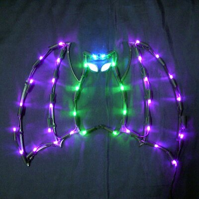 """Queens of Christmas 18"""" Halloween Bat with 35 Multicoloured Lights"""