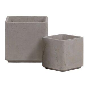 Lobdell Cement Square 2 Piece Pot Planter Set By Wrought Studio