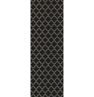 Fischer Quaterfoil Design Black/White Indoor/Outdoor Area Rug by Winston Porter