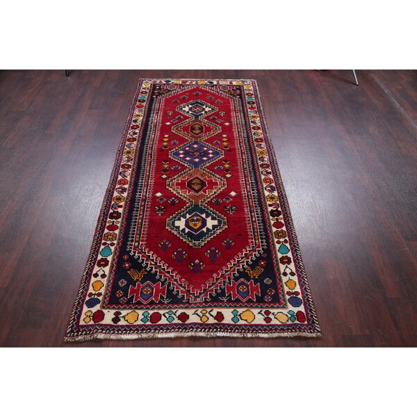 Isabelline One Of A Kind Nathanson Hand Knotted Red 3 6 X 7 8 Runner Wool Area Rug Wayfair