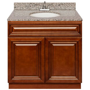Ilkest 36 Vanity Cabinet Cherryville + Absolute Black Granite Top + LB5B Faucet by Charlton Home