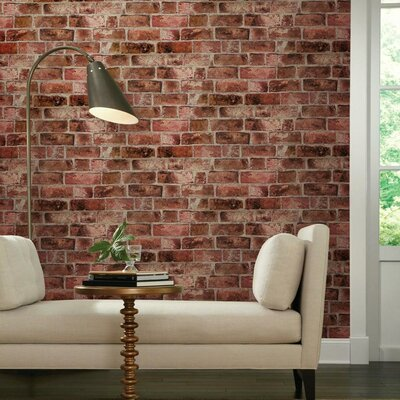 "Modern Rustic 33' x 20.5"" Brick Distressed Wallpaper Roll Color: Brick Red / Cement Gray / Burgundy"