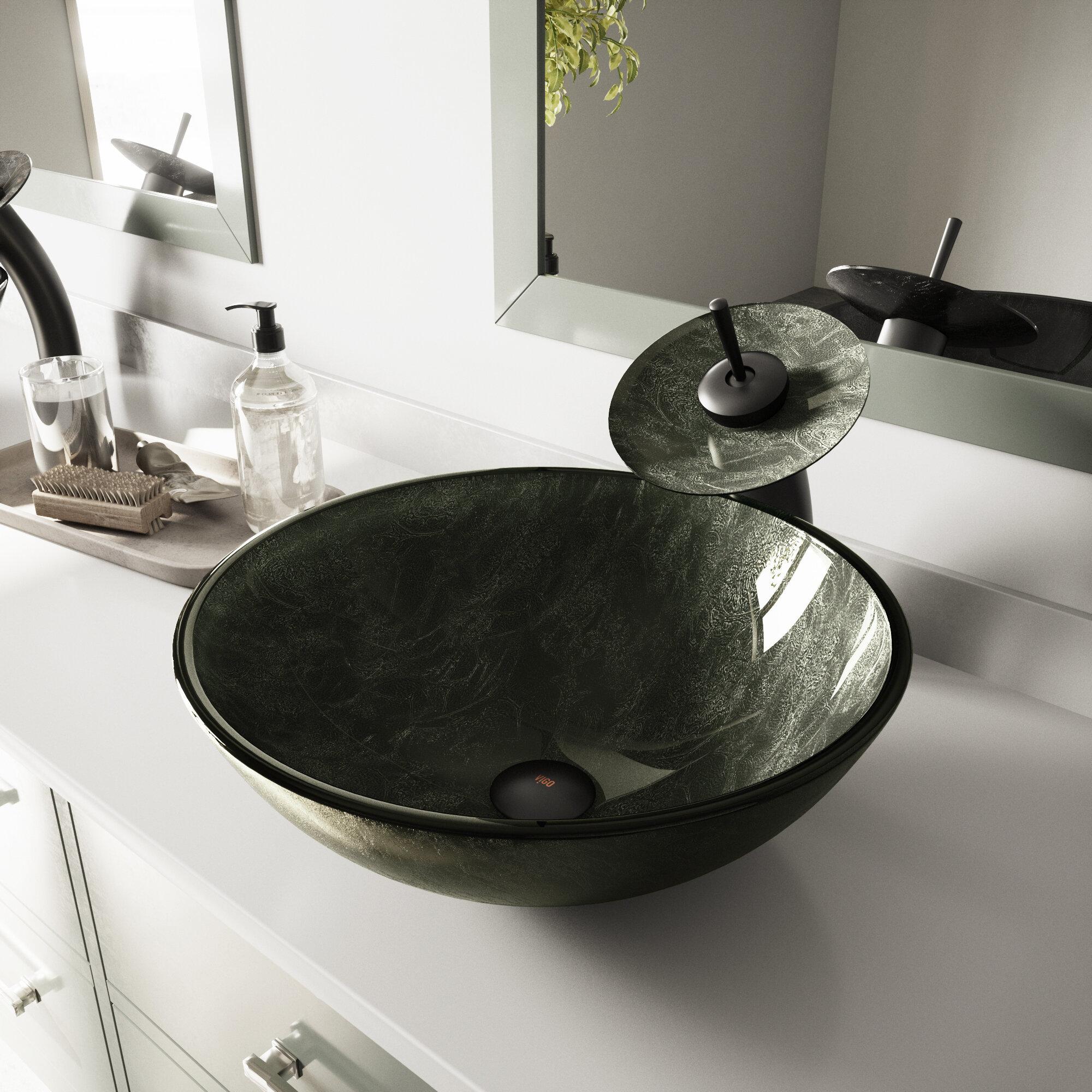 Vigo Gray Glass Handmade Circular Vessel Bathroom Sink Reviews Wayfair
