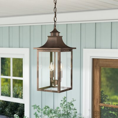 17 Stories Dillion 3 Light Outdoor Hanging Lantern Fixture Finish Copper Patina