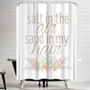 Jetty Printables Salt in the Air Sand in My Hair Typographic Art Single Shower Curtain