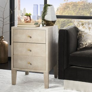 Kass Faux Shagreen 3 Drawer Nightstand By Everly Quinn