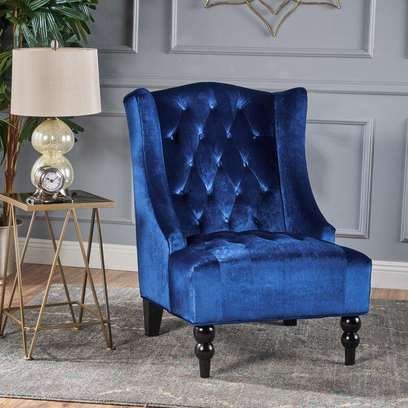 Potterslane High Back New Velvet Wingback Chair