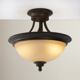 Lindenwood 2-Light Semi Flush Mount in Creek Stone by Charlton Home