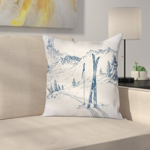 Winter Ski Sport Mountain View Square Pillow Cover