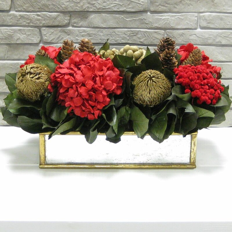 Wooden Short Gold Antique Mirror Container with Banksia Gold and Hydrangea Red