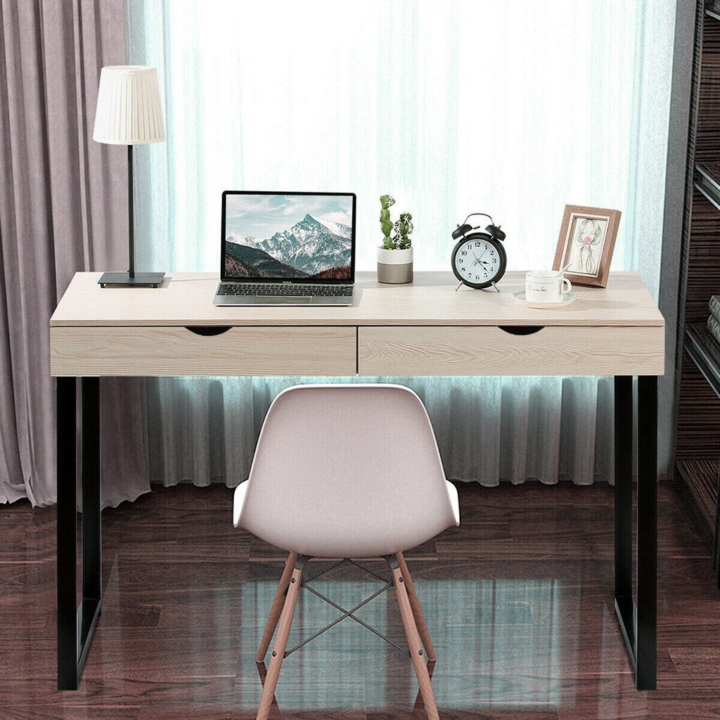 Steel Pipe and Sheet, Black Cloudro Folding Table for Small Space Home Office Desk Simple Laptop Writing Table