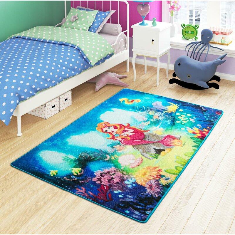 Zoomie Kids Grijalva Animal Print Dhurrie Blue Area Rug Wayfair