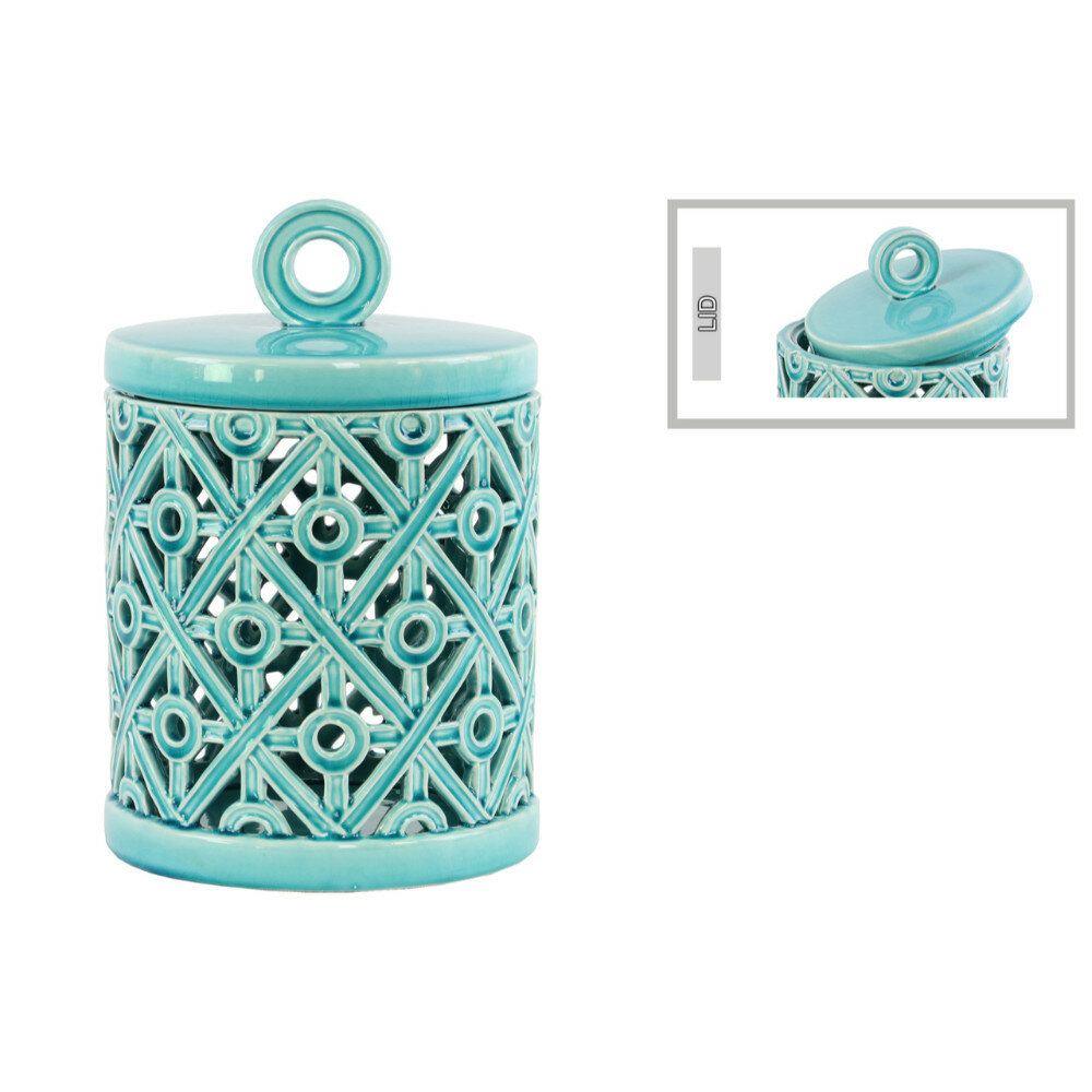 Bungalow Rose Round Kitchen Canister with Ring Handle Cutout Cross ...