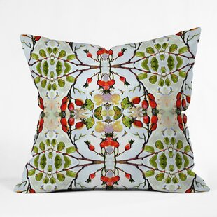 Ginette Fine Art Rose Hips and Bees Pattern Throw Pillow