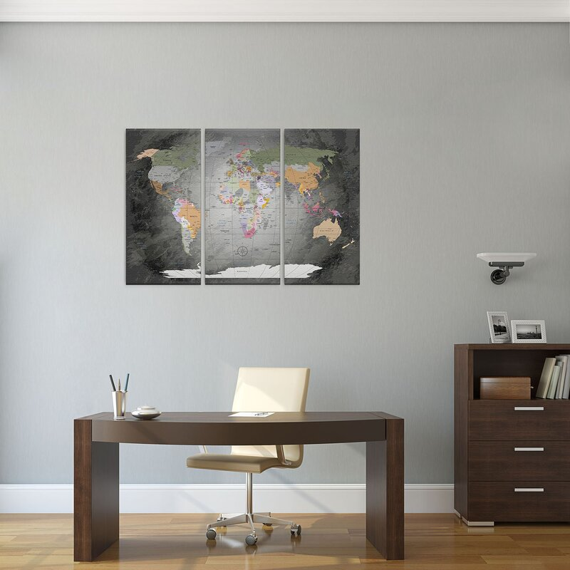 Lanakk world map 3 piece graphic art on canvas set wayfair world map 3 piece graphic art on canvas set freerunsca Images