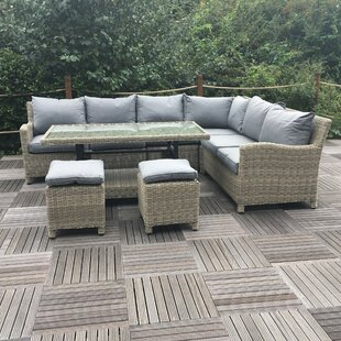 7 Seater Rattan Effect Corner Sofa Set