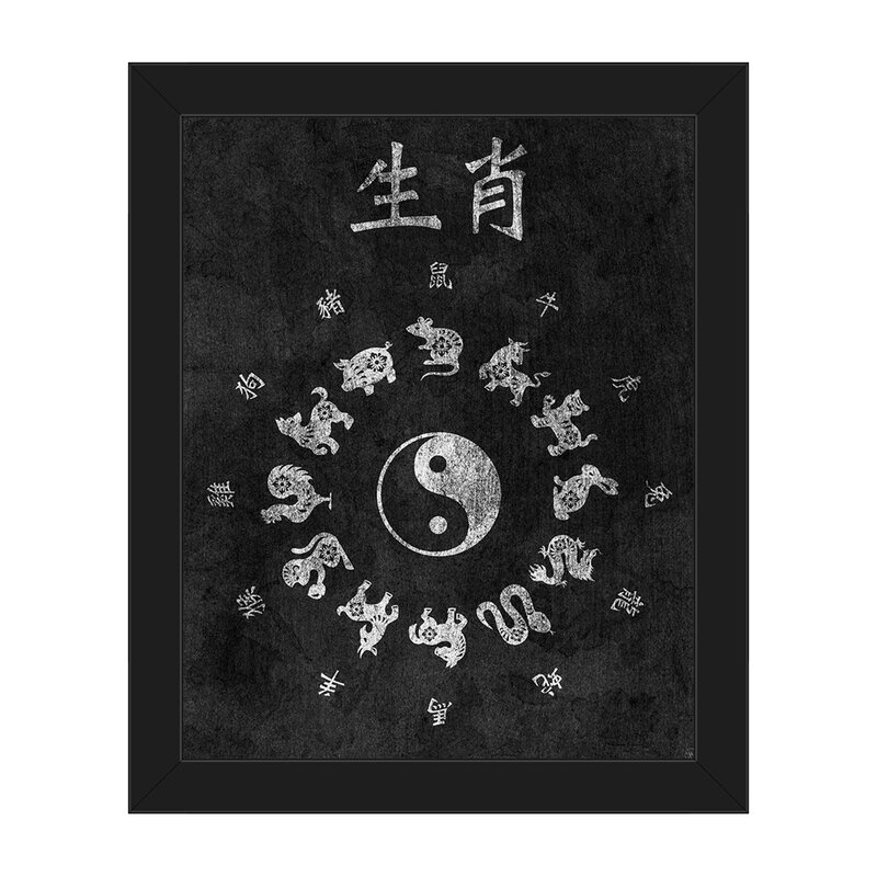 Click Wall Art Chinese Zodiac Paper Framed Graphic Art On Canvas In Black And White Wayfair