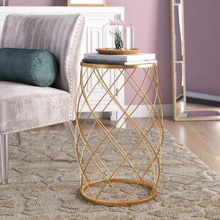 Mercer41 Milburn Convex End Table with Glass Top