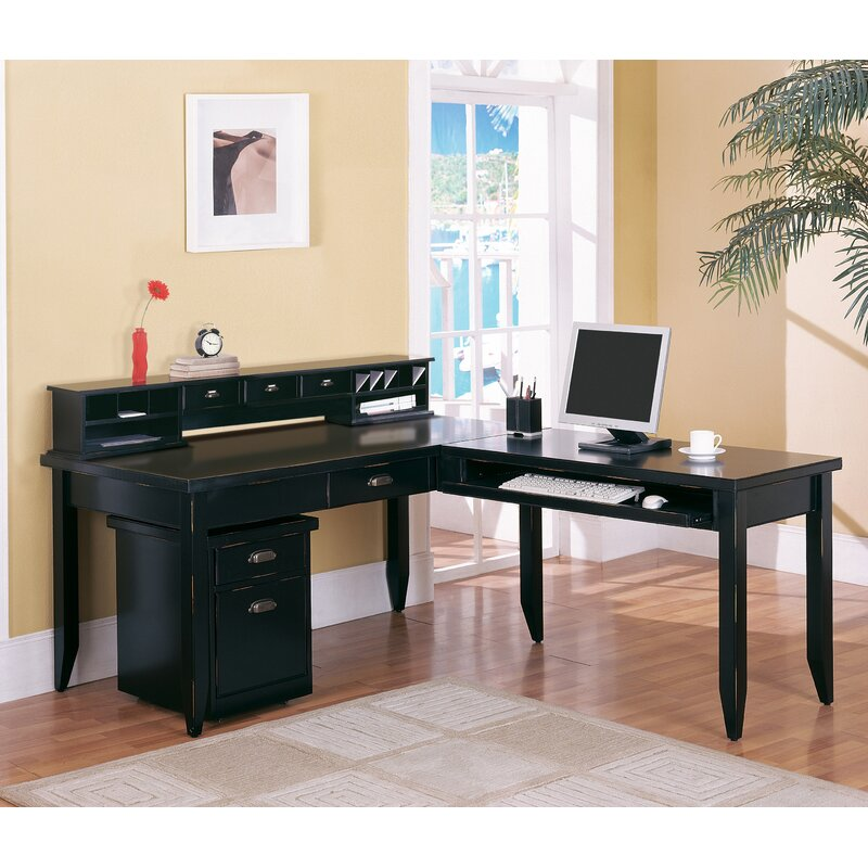 Michal Black L Shaped Executive Desk
