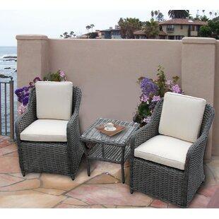 Brayden Studio Dutil 3 Piece Rattan Sunbrella Conversation Set with Cushions