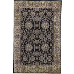 Compare prices One-of-a-Kind Manchuria Handwoven 11'9 x 17'9 Wool Gray/Black Area Rug ByBokara Rug Co., Inc.