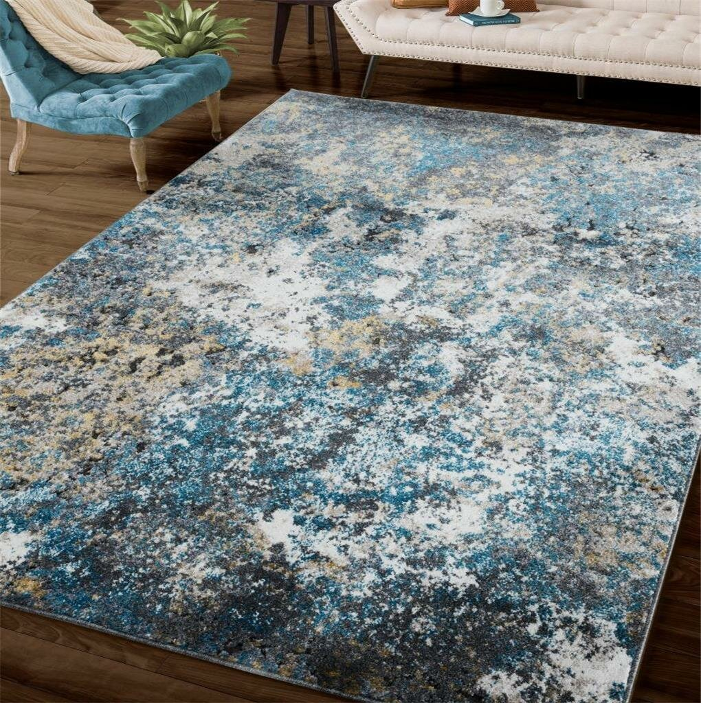 Mercer41 Omie Abstract Turquoise Area Rug Reviews Wayfair Ca