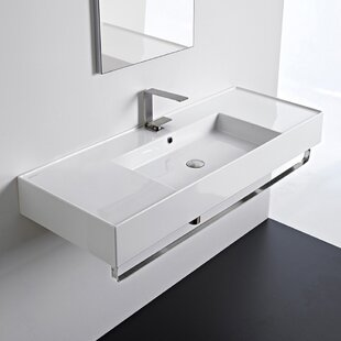Bargain Ceramic 48'' Wall Mounted Bathroom Sink with Overflow By Scarabeo by Nameeks