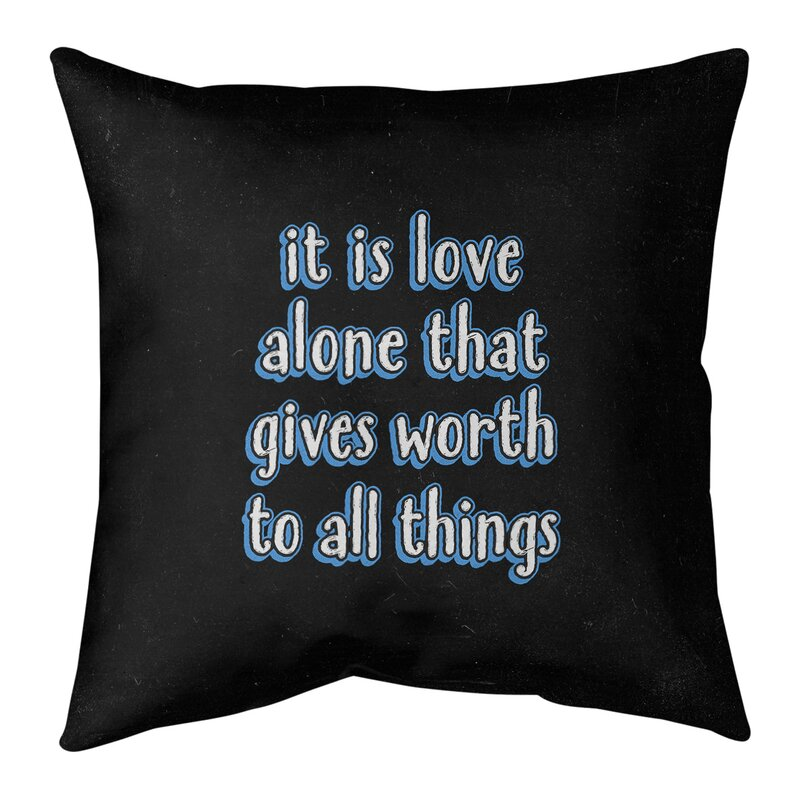 East Urban Home Love Inspirational Quote Chalkboard Style Pillow W Removable Insert Spun Polyester Wayfair