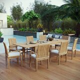 Constance Outdoor Patio 9 Piece Teak Dining Set with Cushions