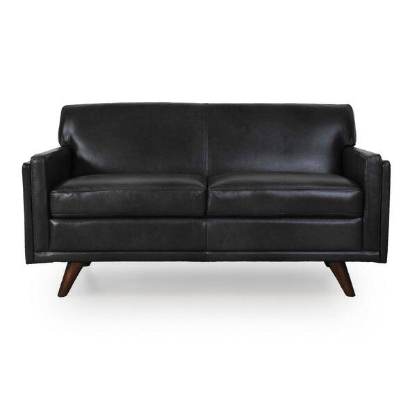 Corrigan Studio Ari Genuine Leather Loveseat Wayfair