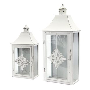 Melrose International 2 Piece Metal and Glass Lantern Set