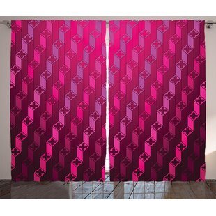 Creasman Magenta Abstract Stripe Psychedelic Motif Fashion Gradient Retro Structured Grid Art Graphic Print & Text Semi-Sheer Rod Pocket Curtain Panels (Set of 2) by Latitude Run
