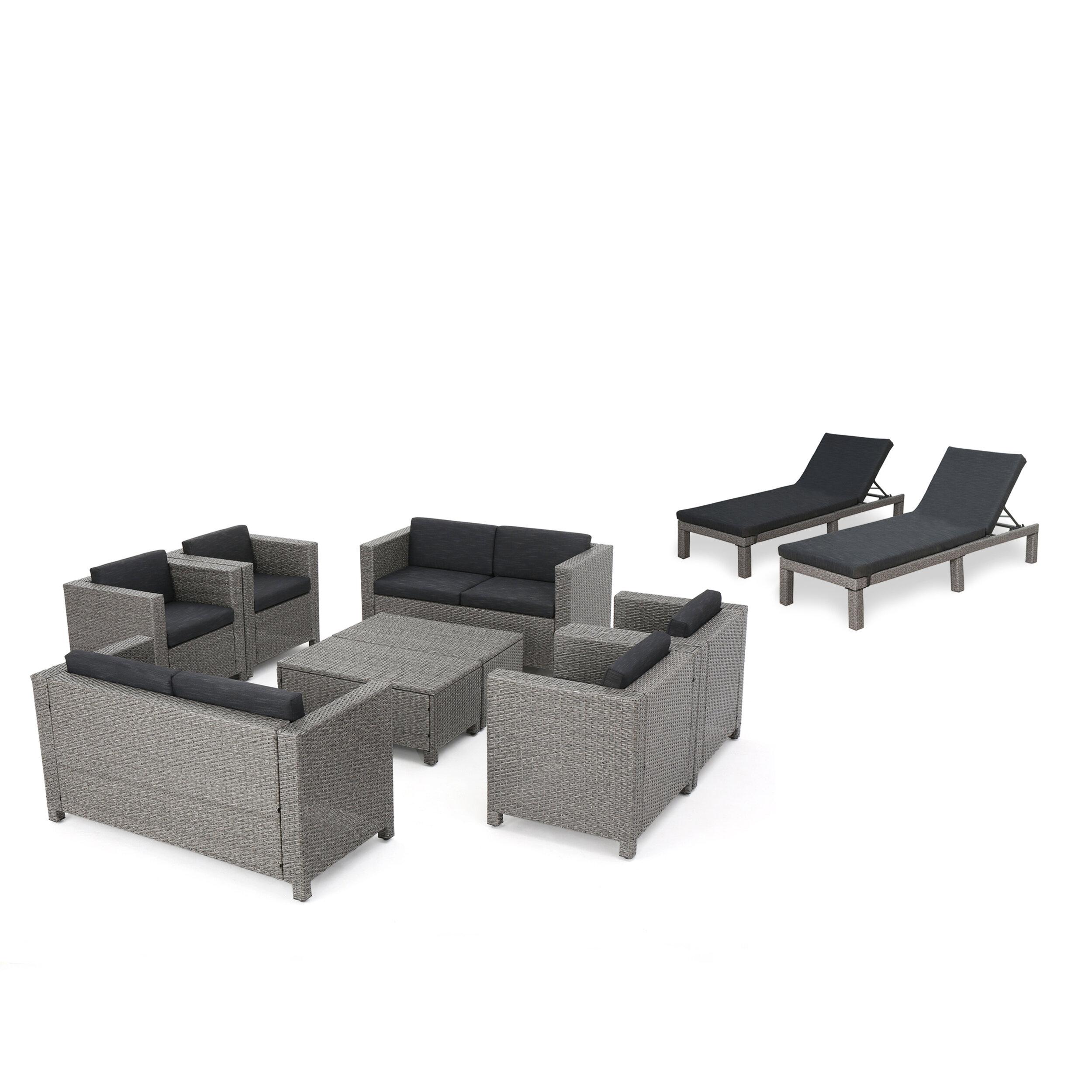 Wade Logan Furst Outdoor 10 Piece Rattan Sofa Set With Cushions Wayfair