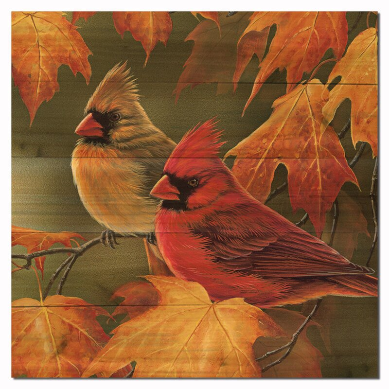 Wgi Gallery Maple Leaves And Cardinals By Rosemary Millette Graphic Art Plaque Reviews Wayfair
