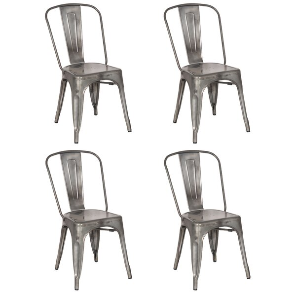 17 Stories Pendergast Metal Slat Back Stacking Side Chair In Silver Wayfair