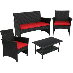 Mariário 4 Piece Rattan Sofa Seating Group with Cushions