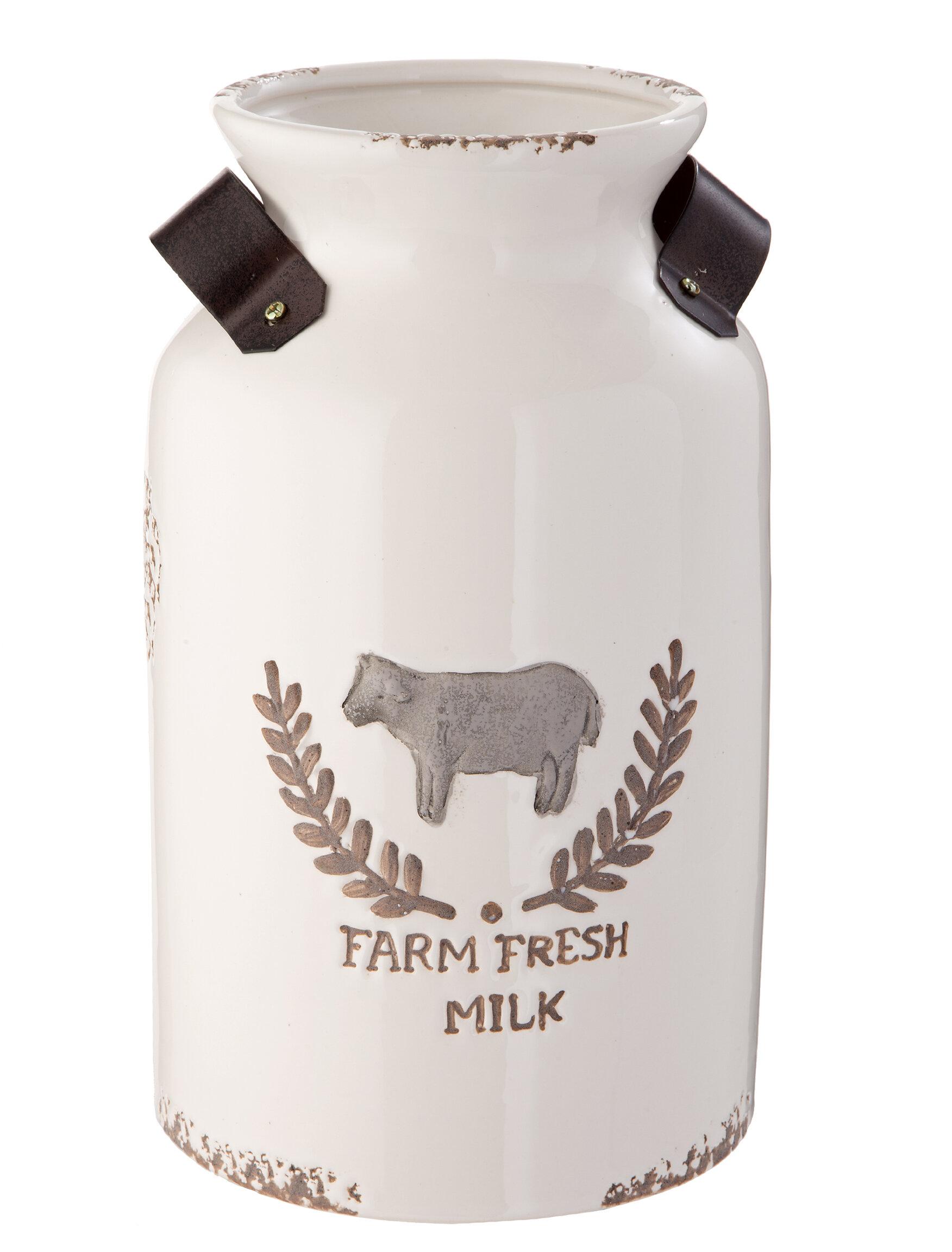 Gracie Oaks Arcola Ceramic Farm Fresh Milk Table Vase Reviews Wayfair