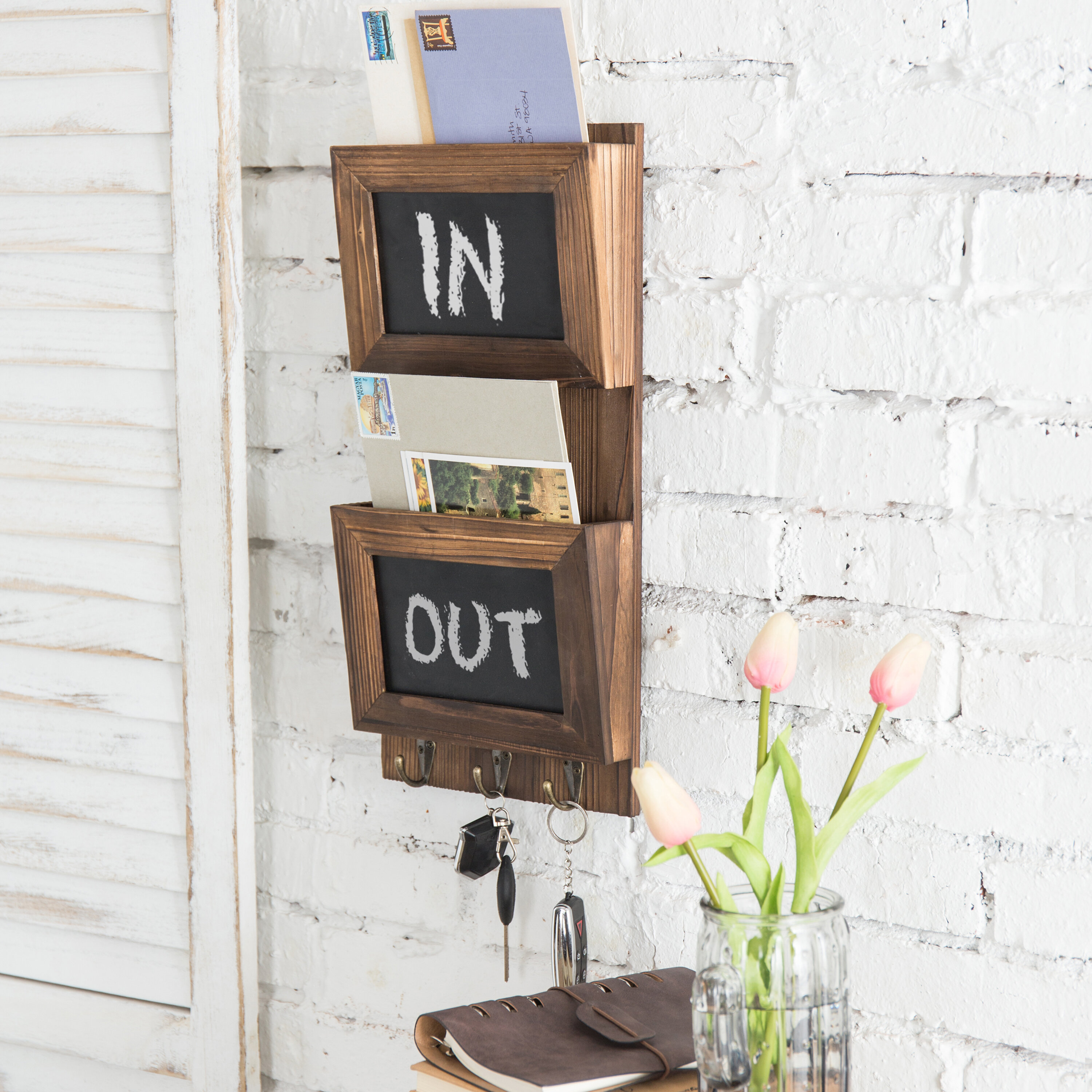 Wood Entryway Wall Organizer with 3 Double Key Hooks Key and Mail Holder for Wall with Chalkboard 2-Slot Mail Sorter Wall Mount with Chalkboard for Entryway Natural Wood Office Mudroom