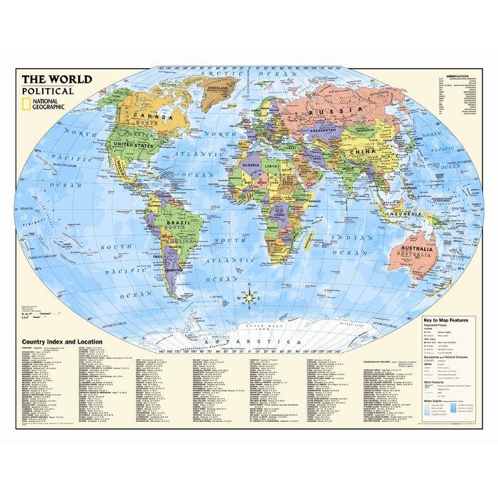 Carte Murale Du Monde Politique Des Enfants 4e à 12e Année
