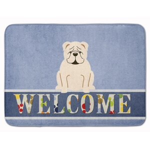 English Bulldog Red Welcome Memory Foam Bath Rug