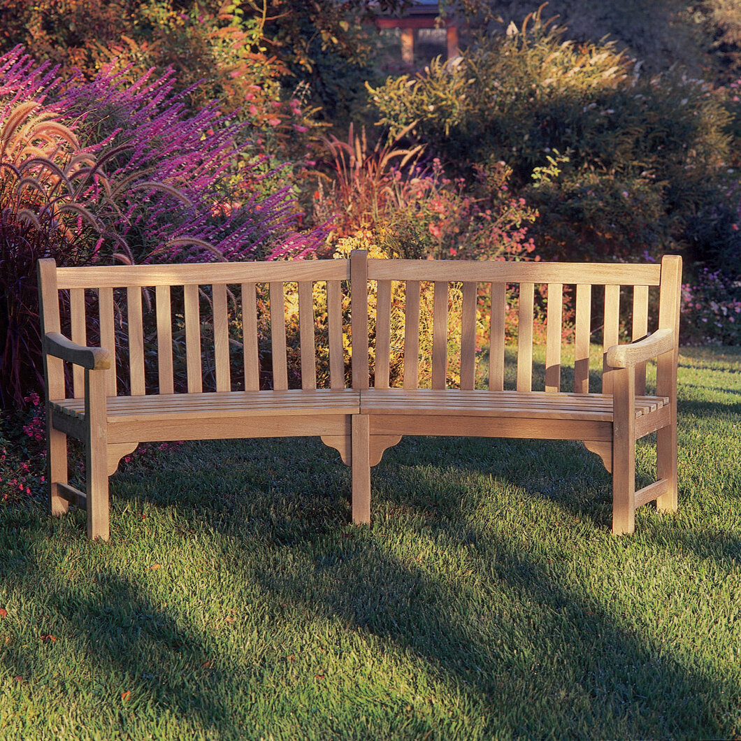 Picture of: Canora Grey Dunloy Curved Wooden Garden Bench Reviews Wayfair