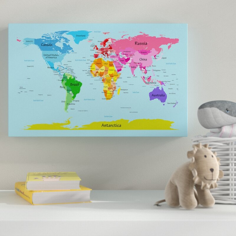 World Map Canvas Canada Zoomie Kids 'World Map for Kids' Canvas Art & Reviews | Wayfair