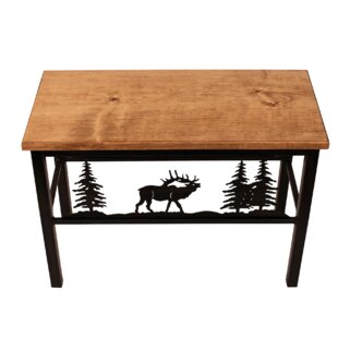 Millwood Pines Francesca Elk Scene Wood/Metal Bench