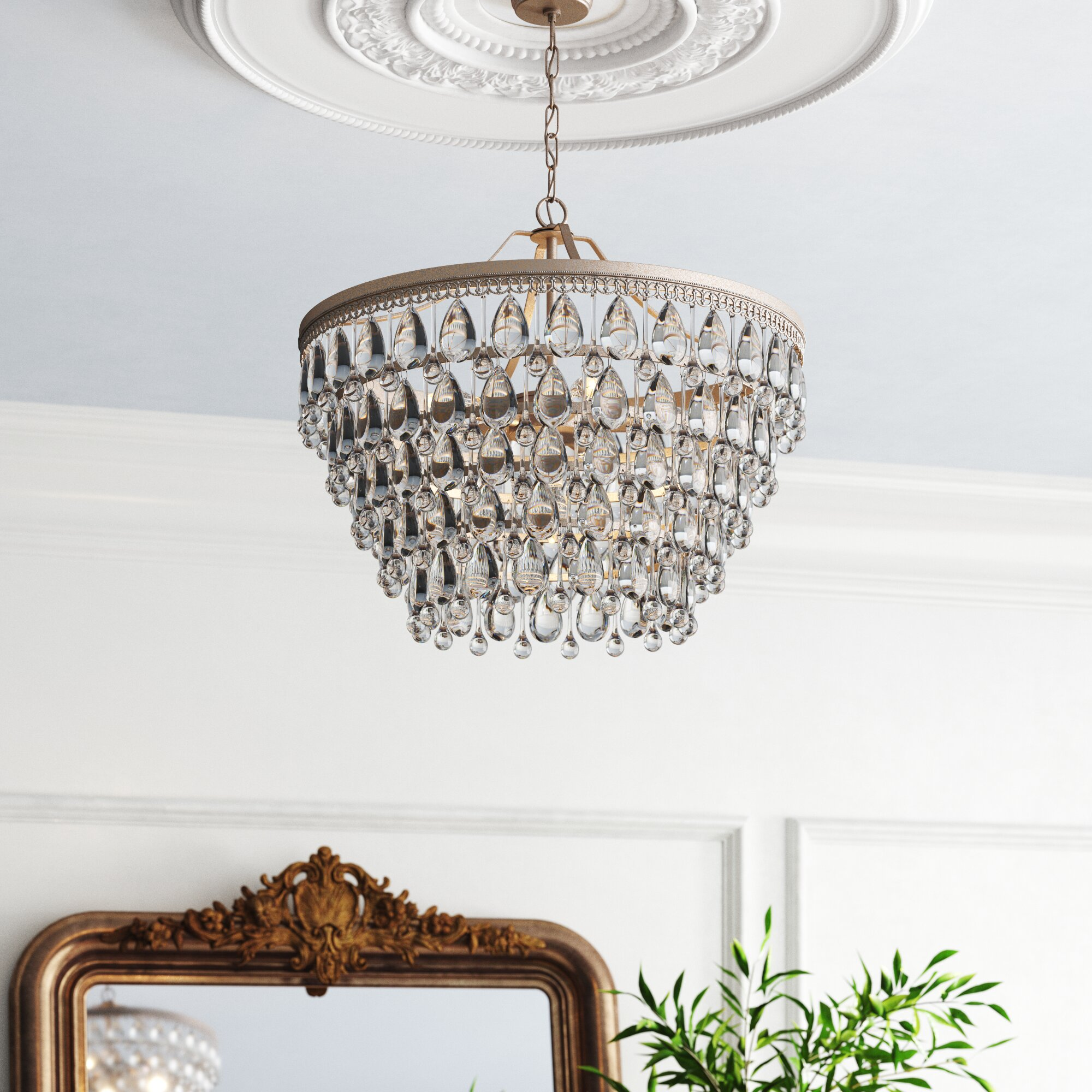 Kelly Clarkson Home Camille 6 Light Unique Statement Tiered Chandelier With Crystal Accents Reviews Wayfair