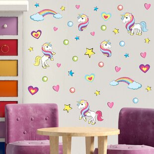 Unicorn Family Glitter Wall Decals Watercolor Unicorn Fabric Wall Decals