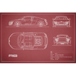 'Audi R8 V10 Coupe' Graphic Art Print on Canvas in Maroon By East Urban Home