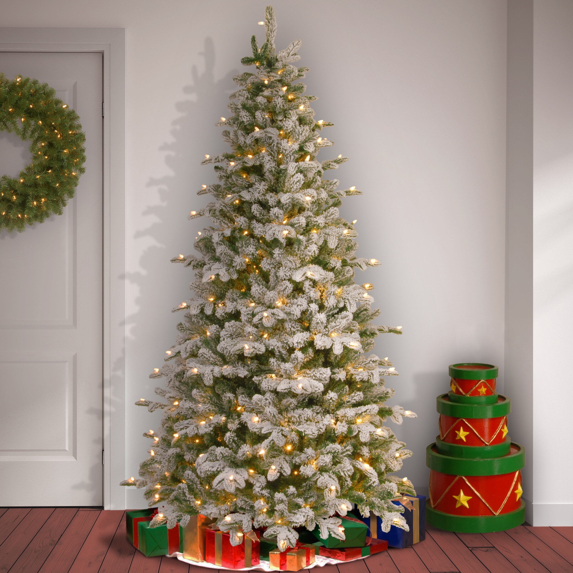 quality design 6da8d bbb1b Snowy Frosted Green Fir Artificial Christmas Tree with Clear/White Lights