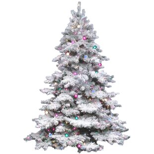 flocked alaskan 45 white artificial christmas tree with 300 dura lit multi colored lights with stand